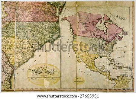Antique map of United States c. 1800. Photo from old reproduction - stock photo