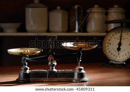 Old Antique Weight Measuring Kitchen Goods Stock Photo