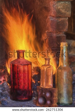 Antique Medicine Bottles in Front of a Fire - stock photo