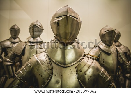 Antique Medieval iron armor, Spanish armada - stock photo