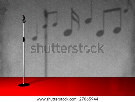 Antique microphone on a stand. - stock photo