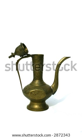 Antique Middle Eastern Oil Lamp Isolated on White Background - stock photo