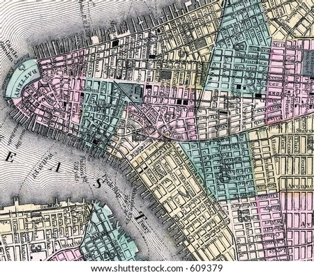 Antique 1870 Mitchell Downtown New York City Map - stock photo
