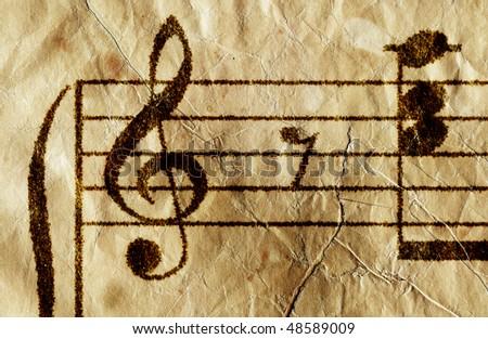 Antique music sheet - stock photo