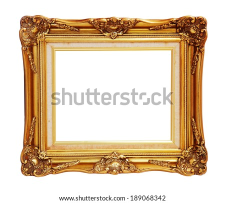 Antique of gold photo frame over white background, clipping path. - stock photo