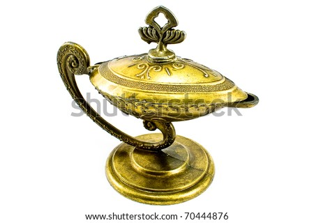 Antique oil lamp isolated on white - stock photo