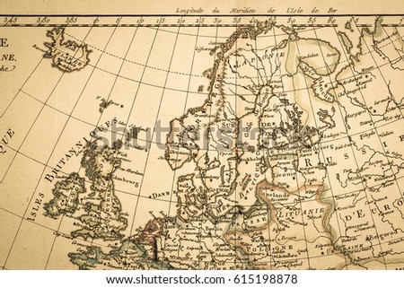 Antique Old Map Northern Europe Stock Photo (Edit Now) 615198878 ...