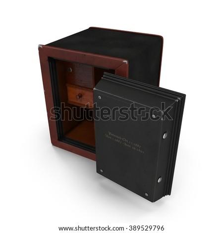 Antique opened iron safe isolated on white - stock photo