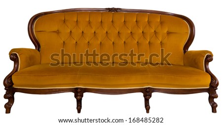 Antique orange sofa isolated on white background - stock photo