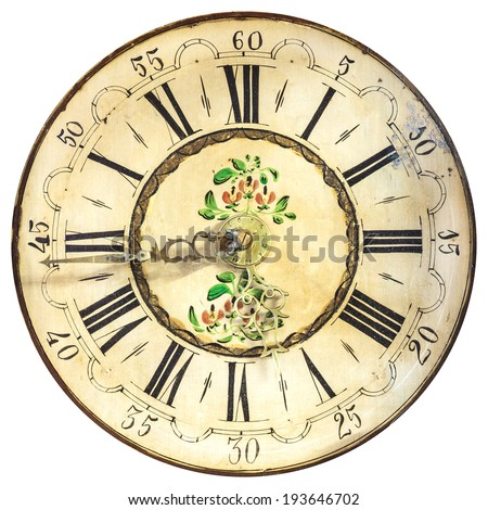 Antique ornamental clock face with roman numbers isolated on a white background - stock photo