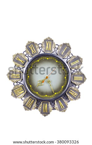 Antique ornate clock with roman numerals isolated on white background - stock photo