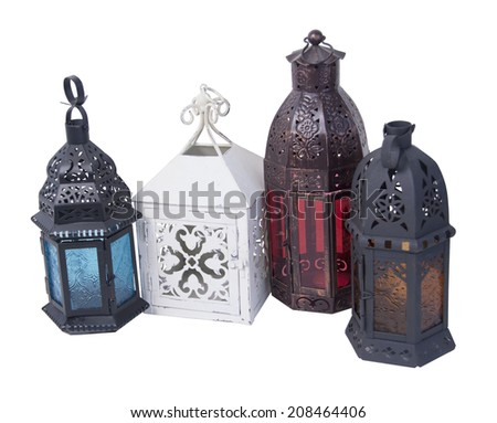 Antique ornate Moroccan candle holders - path included - stock photo