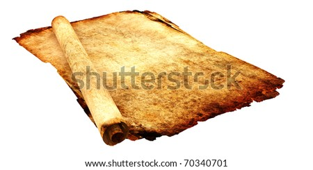 Antique Paper and scrolls isolated on white background - stock photo