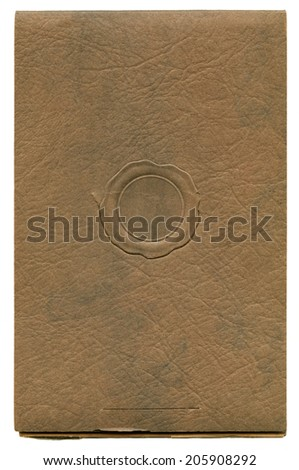 Antique paper photograph cover background with faux wax seal - stock photo