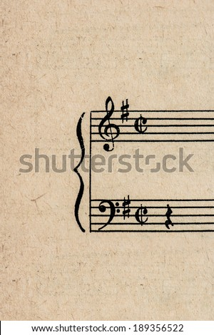 antique paper sheet for musical notes. grungy background - stock photo
