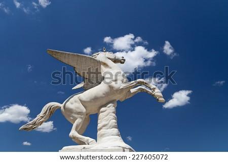 Antique Pegasus sculpture in Boboli Gardens  in Florence, Italy  - stock photo