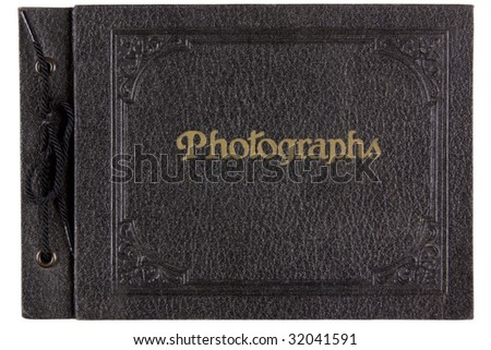 Antique photo album, isolated on white. - stock photo