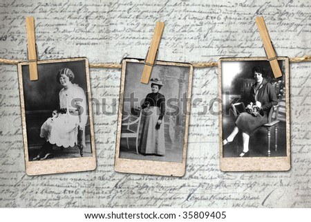 Antique Photographs of 3 Vintage Era Women Hanging on a Rope By Clothespins - stock photo