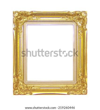 Antique picture frame isolated on a black background.
