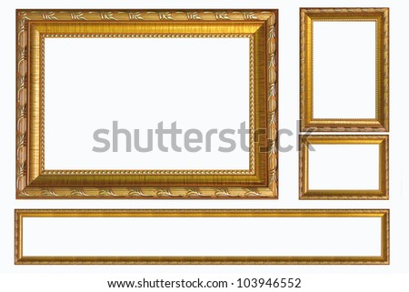 antique picture frames isolated on white - stock photo