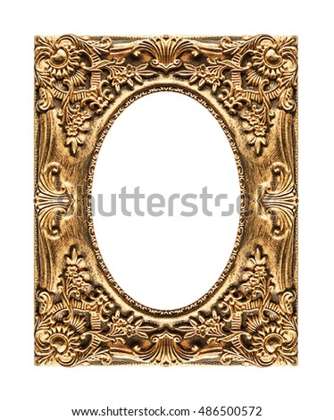 Antique picture golden frame isolated on white background, clipping path.