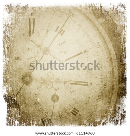 Antique pocket clock face. Grunge background with isolated borders. - stock photo