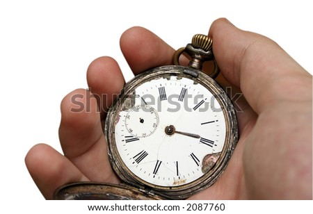 Antique pocket clock in a man hand isolated on white - stock photo