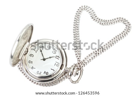 Antique pocket watch and silver chain in the shape of heart.