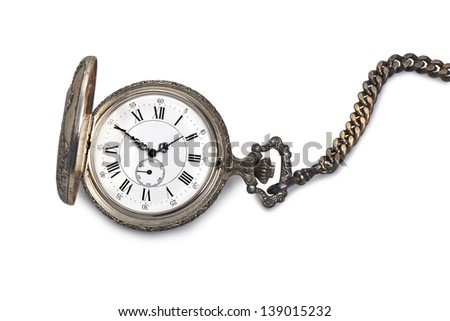 Antique pocket watch isolated on white background - stock photo