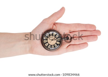 Antique pocket watch lying on the palm of your hand