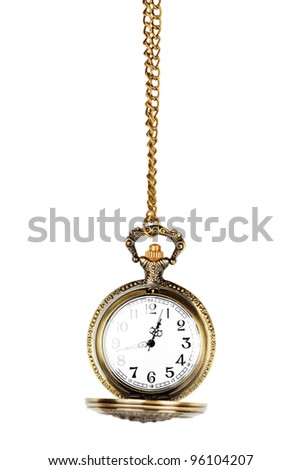 Antique pocket watch on a chain with open lid. - stock photo