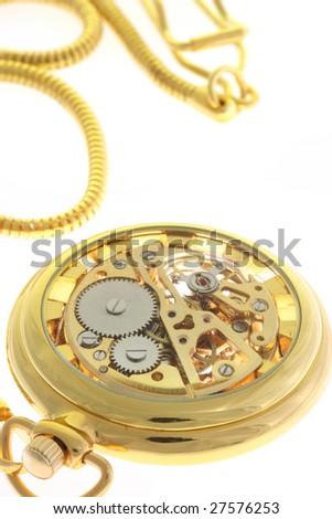 Antique pocket watch on white. - stock photo