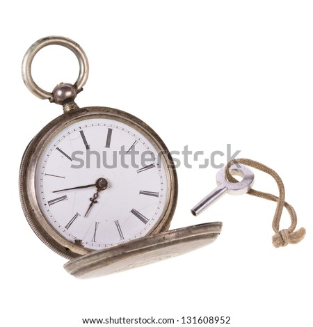 antique pocket watch with crown isolated on white background - stock photo