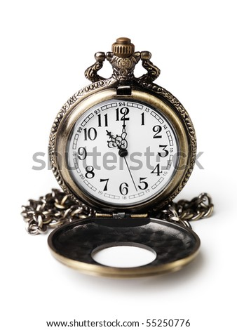Antique pocket watch with open lid. Isolated on white background. - stock photo