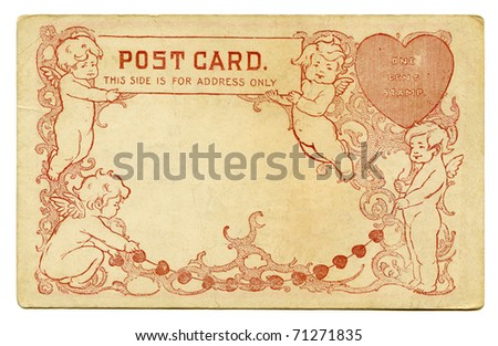 Antique Postcard back with Cupids and Heart - stock photo