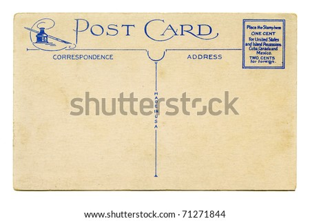 Antique Postcard back with ink well and quill - stock photo