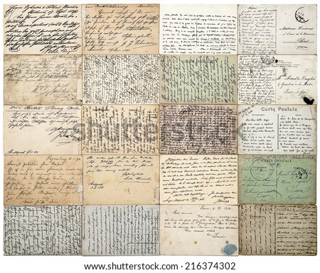 antique postcards. old handwritten undefined texts from ca. 1900. grunge vintage papers background. french carte postale - stock photo
