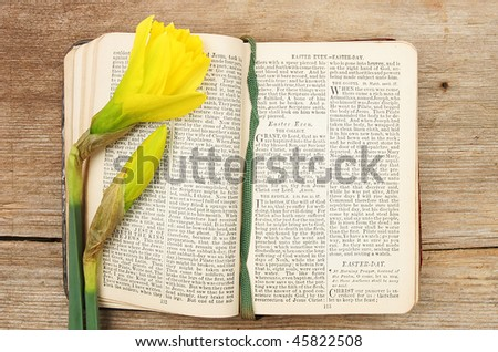 Antique prayer book open on an Easter prayer with daffodil flowers - stock photo