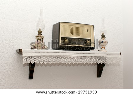 Antique radio and two lamps