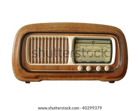 Antique radio isolated - stock photo