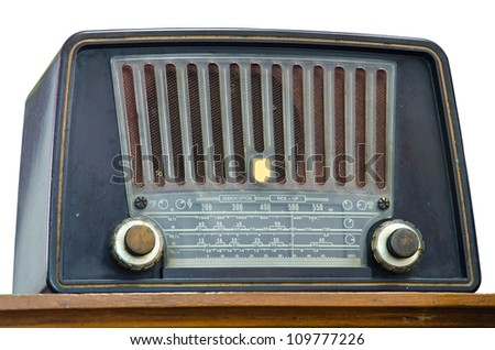 Antique radio on a white background - stock photo