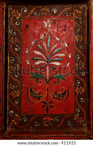 Antique raised carved panel. - stock photo