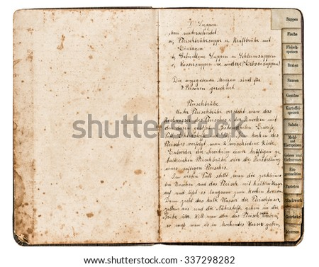 Antique recipe book with handwritten text, meat soup in german - stock photo