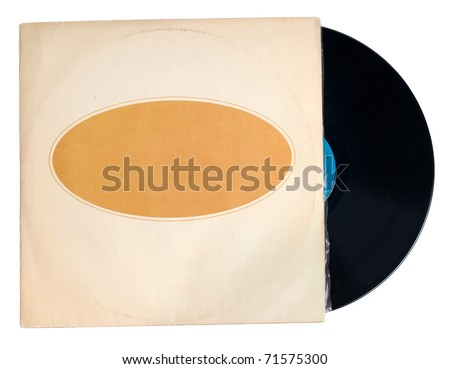 Antique Record with Sleeve isolated on white - stock photo