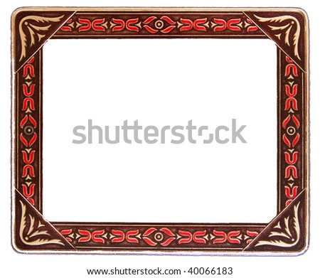 Antique Red and Beige Frame on White Background - stock photo