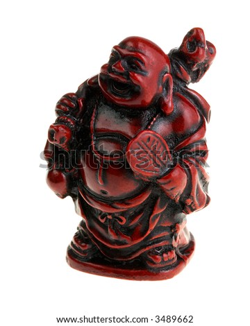 Antique Red Buddha statue isolated on white background