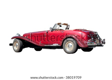 Antique red car isolated on white - stock photo