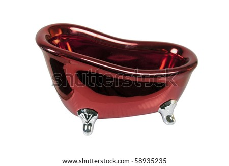 Antique red claw footed bathtub for bathing or relaxing - path included