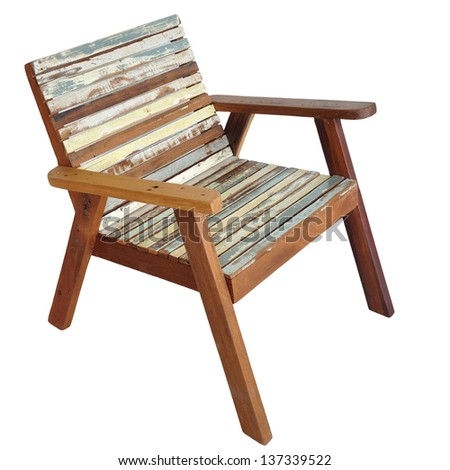 Antique retro classic wooden chair isolated on white background with clipping path.