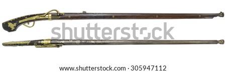 Antique rifle  firearms  guns on a white background. - stock photo